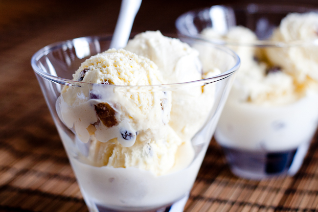 Rum raisin ice-cream spiked with rum and juicy plump raisins