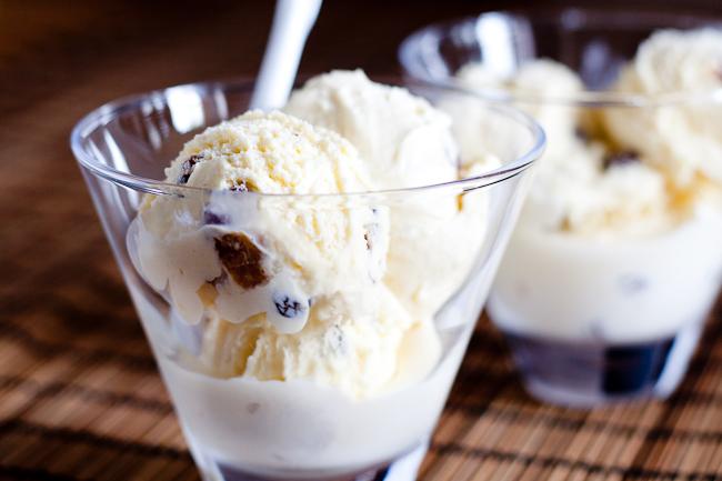 Rum raisin ice-cream spiked with rum and juicy plump raisins