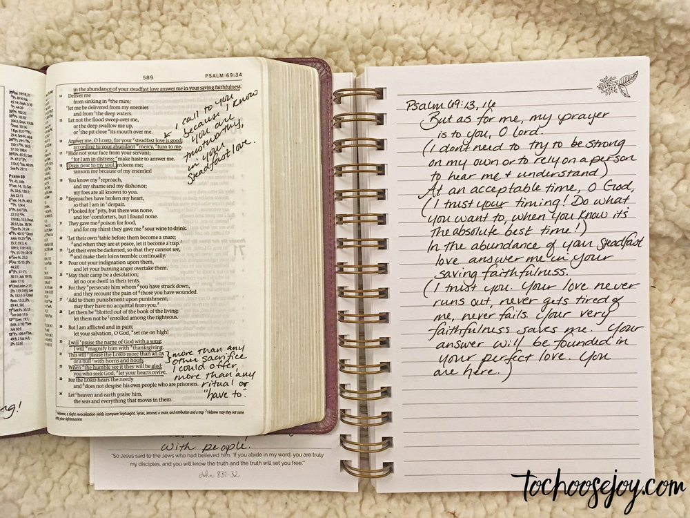 You certainly don't have to go through an entire Psalm, or have long answers! Here's an example of focusing on just a few verses from a Writing Between the Lines study of Psalm 69.
