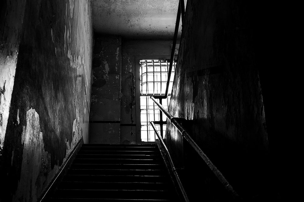 View up the stairs that lead to the prison hospital at Alcatraz.