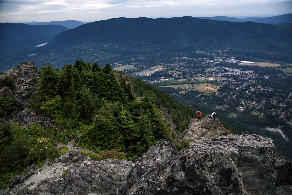 Looking out across the lowlands from Mount Si in Washington.