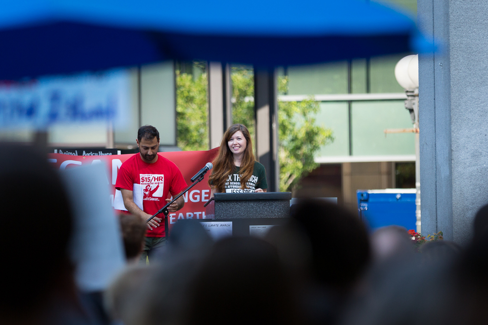Jess Spear addressing the People's Climate march in Seattle on Sunday. September 21, 2014.