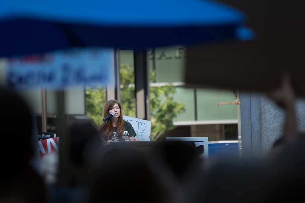 Jess Spear continues her address of the crowd that gathered before the People's Climate march began. Seattle, WA.