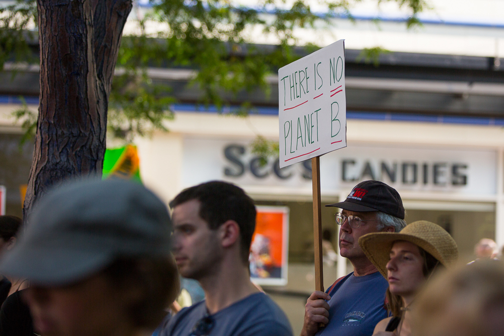 "A sign referencing a statement made by Ban Ki-Moon. The statement, "" there is no ""Plan B"" for action as there is no ""Planet B"" was made  during the largest climate march in history in New York City."