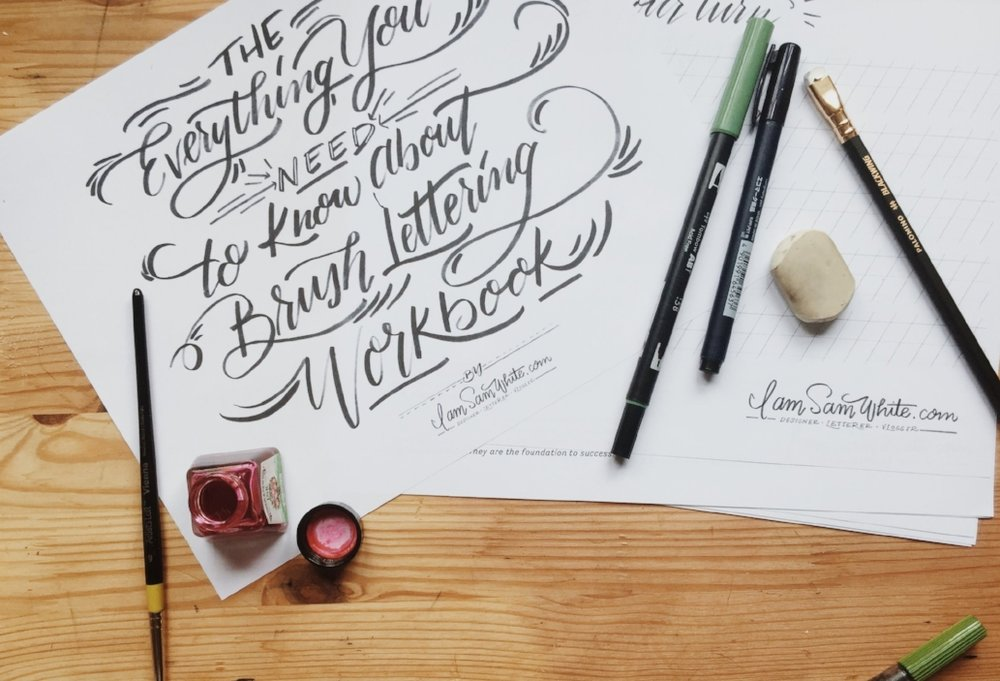 "To DOWNLOAD this 20 page ""Everything You Need to Know About Brush Lettering Workbook,"" fill out the form below! Have fun!"