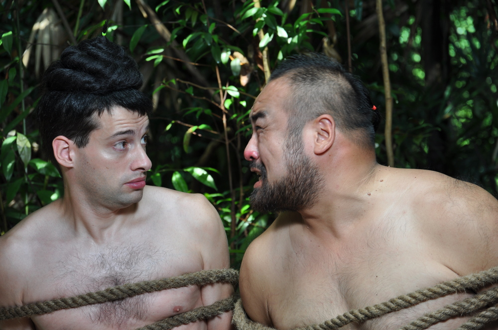 Production still of me (left) and Da Qing (right) - our boss - scolding me for being such a naive sheep. (Photo: Gao Bei)