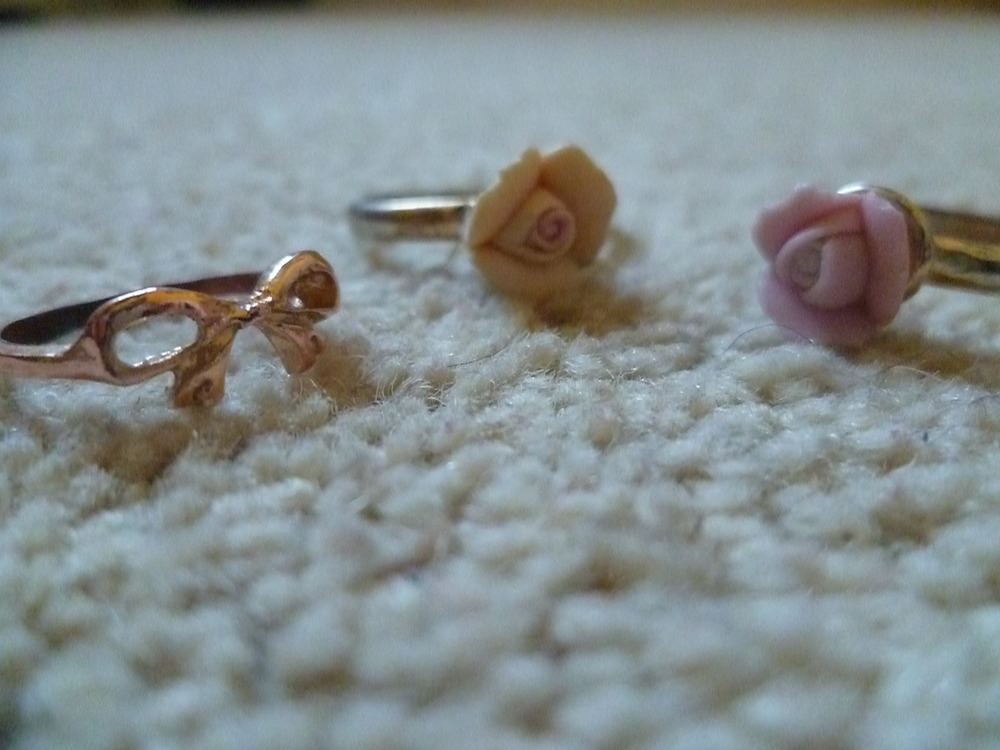 Fun rings! Floral (pink and yellow) normal fitting rings from Pennys/ Primark and a little bow finger ring (rose gold colour) purchased in Camden