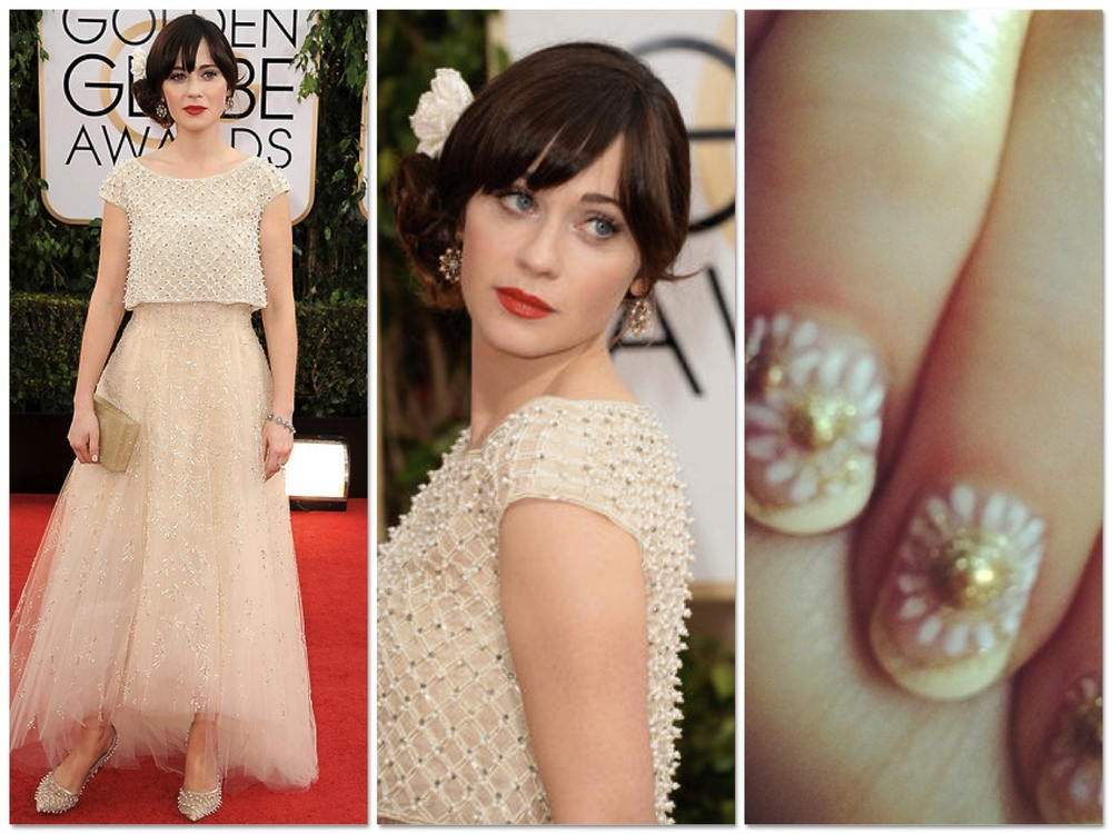 Zoe Deschanel in a pale gold Oscar De La Renta number with vintage jewels. Of course in true Zoe fashion she is rocking cutesy daisy nails and red lips.