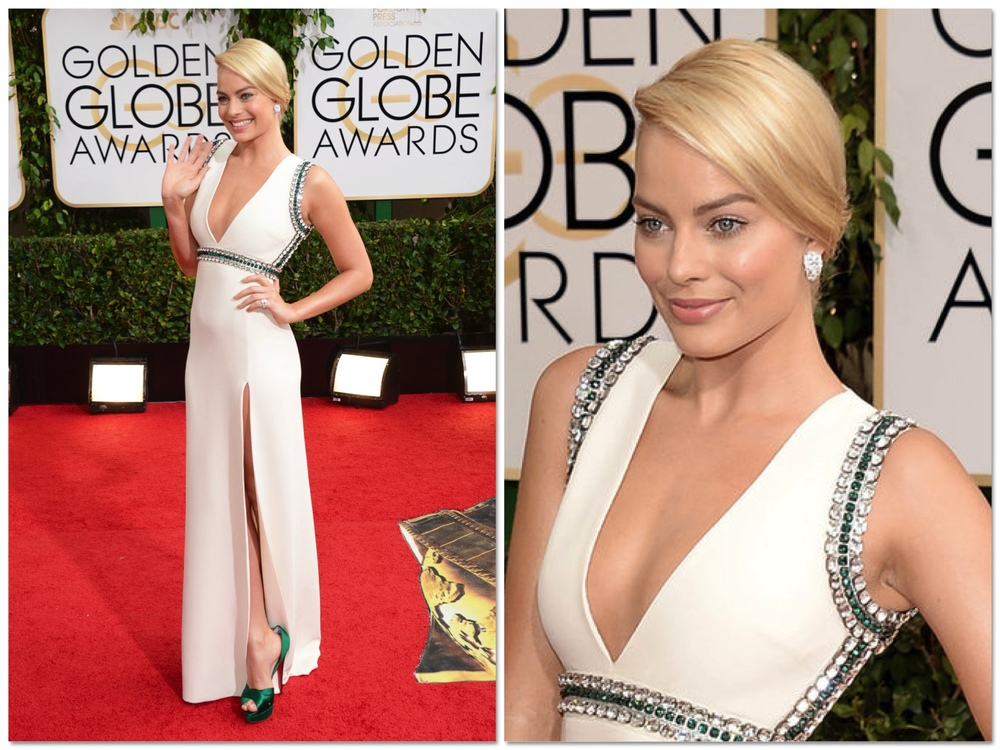 Margot Robbie rocked the red carpet in this amazing sleek white dress. She kept her hair and makeup simple and clean and the dress is so streamline with just the right amount of bling, all in all she is just letting her natural beauty shine through without all the bells and whistles that a lot of girls think that they need on the red carpet. PERFECTION.