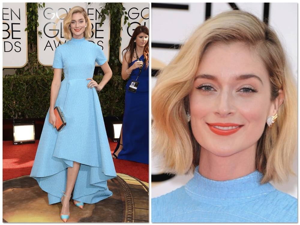 I am slightly obsessed with Caitlin Fitzgerald in this Emilia Wickstead hi-lo dress. I mean... it's perfect. I am also loving Caitlin's choice of peachy coloured accessories and coral lips. So chic!