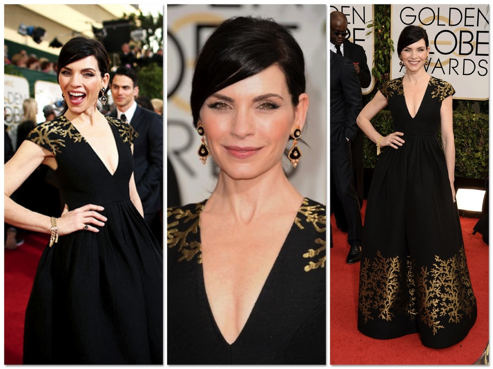 The Good Wife star Julianna Margulies glows in this Andrew GN black and gold gown. She keeps the look match-y, match-y with black and gold jewels. This minimalistic and pretty makeup and hair look seems to have been all over the red carpet last night and I have to say I love it!