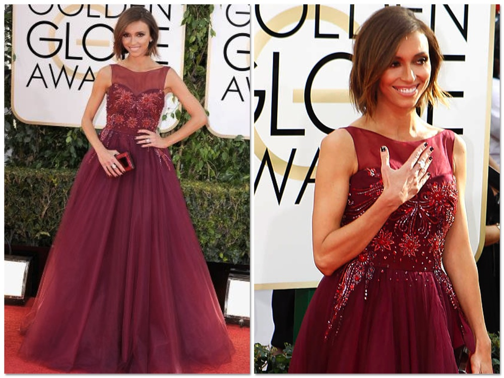 My guuuuurl G Rancic stole the show in this raspberry red, sparkling, princess gown by Lorena Sarbu. This is a very different look for Giuliana as she usually leans more towards wearing the more sleek, straight up and down dresses but I am glad that I've finally seen her in a princessy dress. She looks super fresh and youthful in this look with her minimalistic makeup and tousled bob hair do. Good job G!