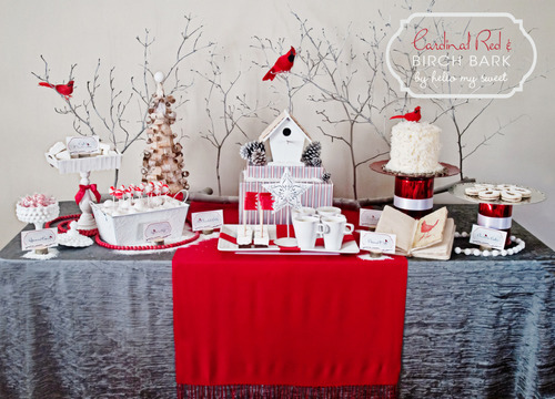 birds of a feather cardinal red birch bark holiday dessert table