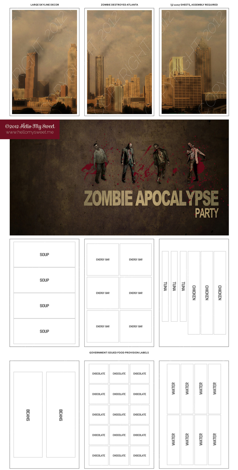 Walking Dead Zombie Party Printable Halloween Decor