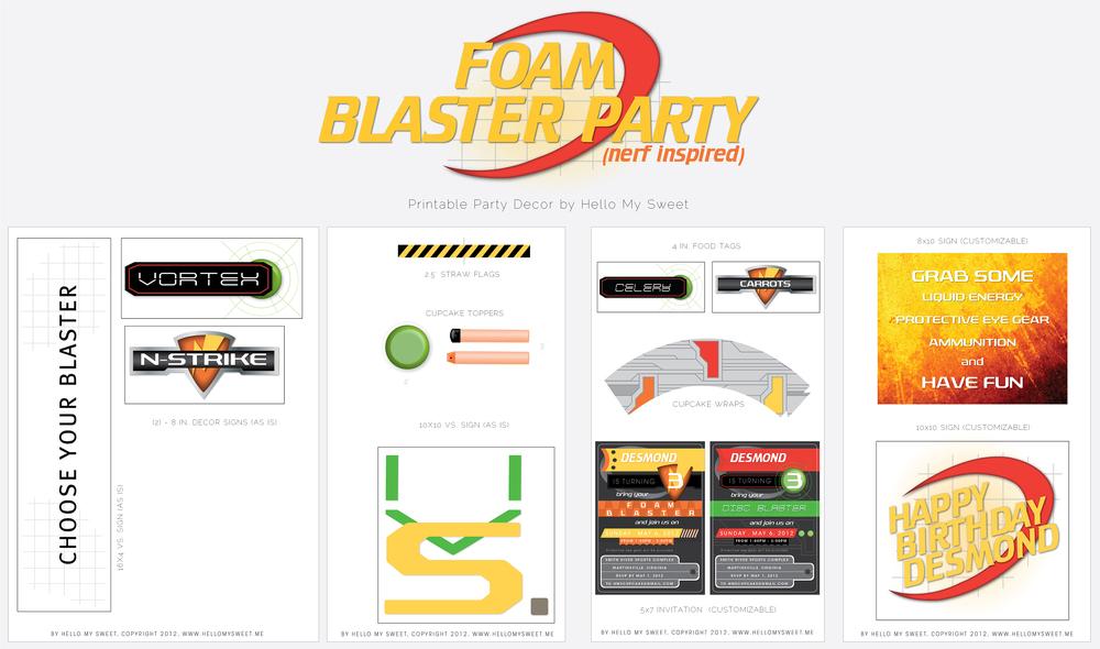 NERF Inspired Foam Blaster Printable Birthday Party Dessert Table Decor