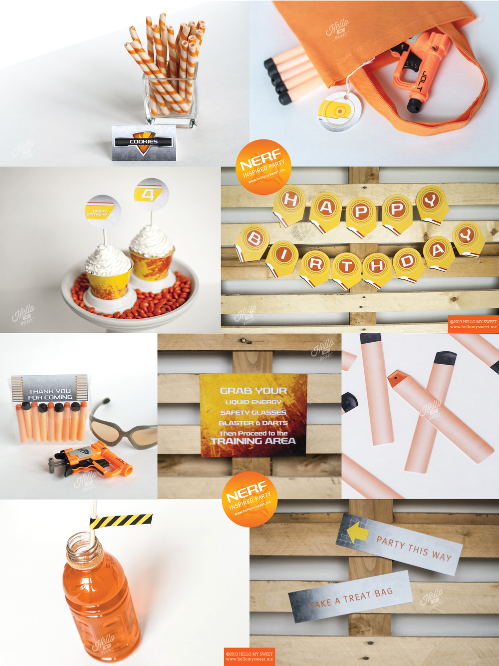 Nerf Birthday Party - Printable Decoration Set