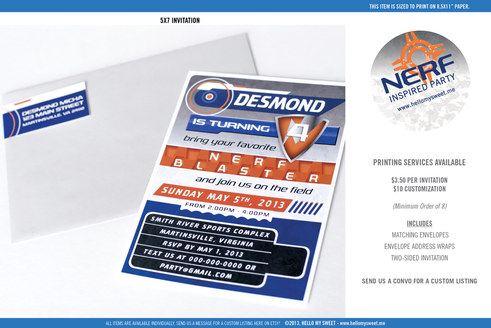 Nerf Birthday Party - Printable Invitation
