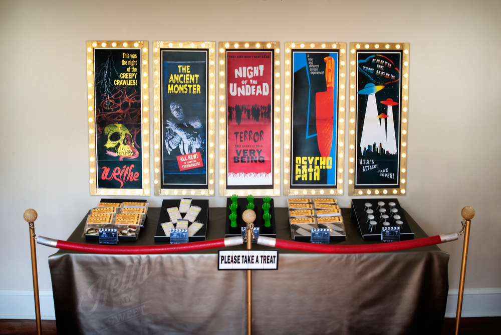 Vintage Movie Night concession stand with B-Movie Horror films for Halloween.