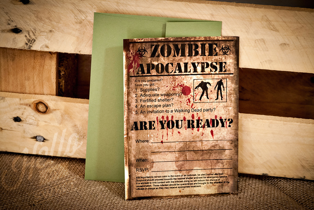 The walking dead season 3 premiere party hello my sweet zombie party invitation filmwisefo