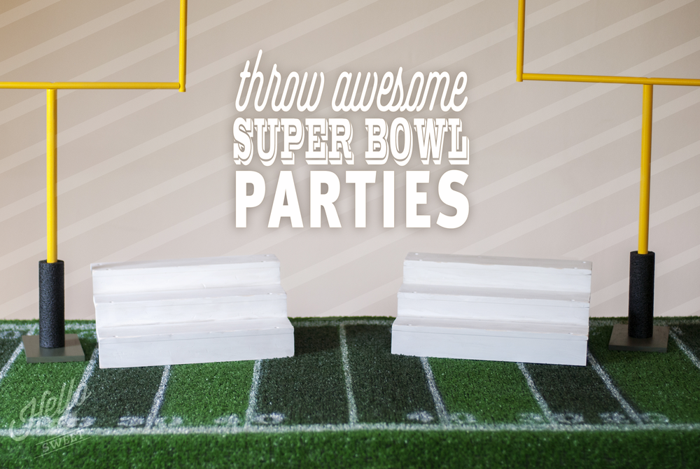 We sell our Super Bowl Party decorations in a complete set or individually. Pictured here are the field table cover, goal post set and bleacher stands.
