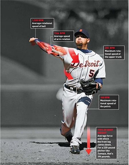 """ The slingshot move of a pro pitcher's shoulder is the fastest recorded action in sports. A pitch's power, however, is generated by his entire body. For a right-handed pitcher, the chain of kinetic energy starts as soon as he lifts his left leg and faces third base. The energy of that foot landing transfers into the rotation of the trunk and then finally unleashes in the arm whipping around at the elbow. Glenn Fleisig, the research director of the American Sports Medicine Institute, has found that the hardest throwers rotate their pelvis toward home plate and follow with their trunk less than a tenth of a second later, snapping their bodies like a whip"" see more popsc"