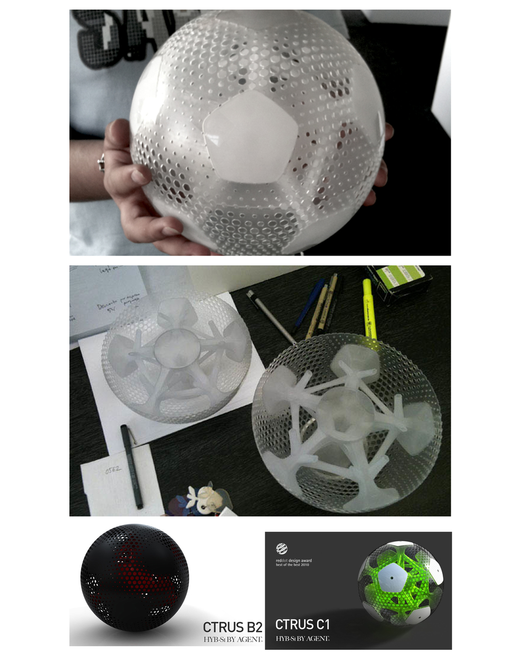 """ Though claimed to be the first football you can see through on the earth, the transparent design is not the only character of the CTRUS soccer ball. Made out of reinforced elastomers, the outer net-embedded shell not only emulates the bounce of the inflated football, but offers it the advantage of not loosing air. The electronic components inside also enable the control stations to wirelessly control the ball"" from inewidea"