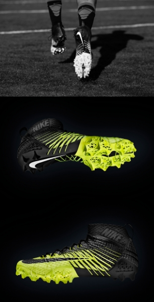 "Looking to do for the ""shuttle"" or ""5-10-5″ drill what the Vapor Laser Talon did for the 40-yard dash, Nikepresents its second football cleat to adopt 3D-printing technology: the Vapor HyperAgility. While the Vapor Laser Talon was built for linear speed – weighing in at just 5.6 ounces – the Vapor HyperAgility takes innovation to a whole new level, offer superior linear speed in conjunction with the agility and lateral quickness required on the gridiron. Born from Nike's ""Shuttle Project,"" the new cleat provides optimal traction, reduced deceleration time and ""traction confidence"" – all of which are integral when cutting and quickly changing direction – thanks to an amplified tri-star stud shape, a stud placement pattern that maximizes surface traction, and a mid-cut upper design that features a proprioceptive compression collar and individually hand-threaded Dynamic Flywire cables for support. Like the Vapor Laser Talon before it, the Vapor HyperAgility once again adopts Selective Laser Sintering (SLS) technology in the production of its 3D-printed cleat plate. Look for the technologies showcased by Nike's latest concept to inform future design in much the same way that the Vapor Laser Talon inspired the Vapor Carbon 2014 Elite that debuted for Super Bowl XLVIII. see more HYPEBEAST"