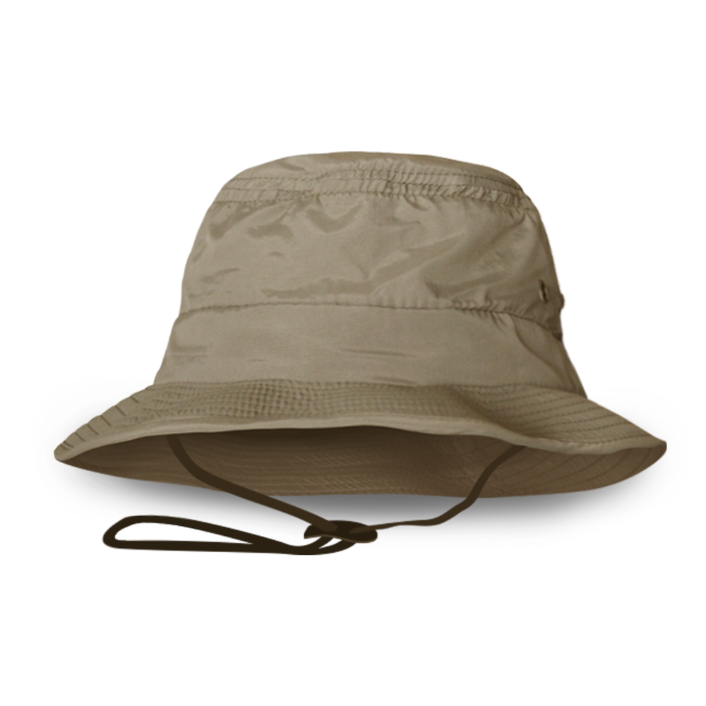 BUCKET HAT WITH VENTILATION / ADJUSTABLE CHIN STRAP 100% POLYESTER
