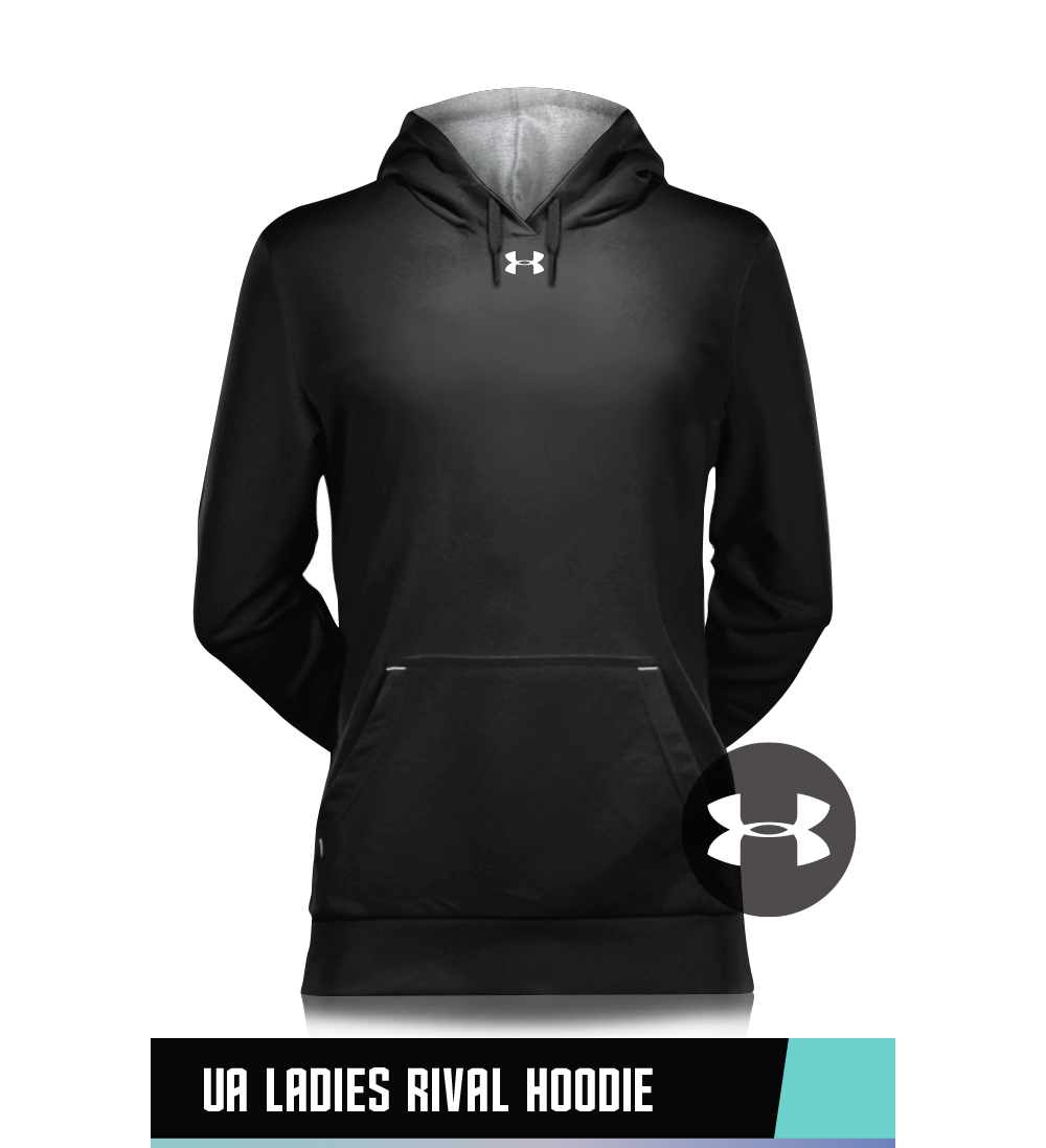 UA LADIES' RIVAL FLEECE HOODIE  80% COTTON / 20% POLYESTER  SIZE CHART