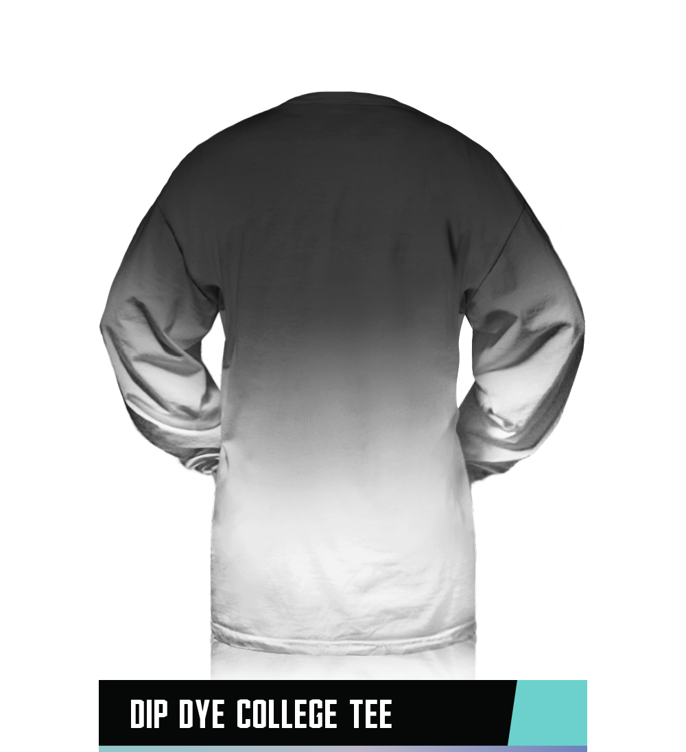 DIP DYE COLLEGE TEE 100% PIGMENT DYED RINGSPUN COTTON SIZE CHART