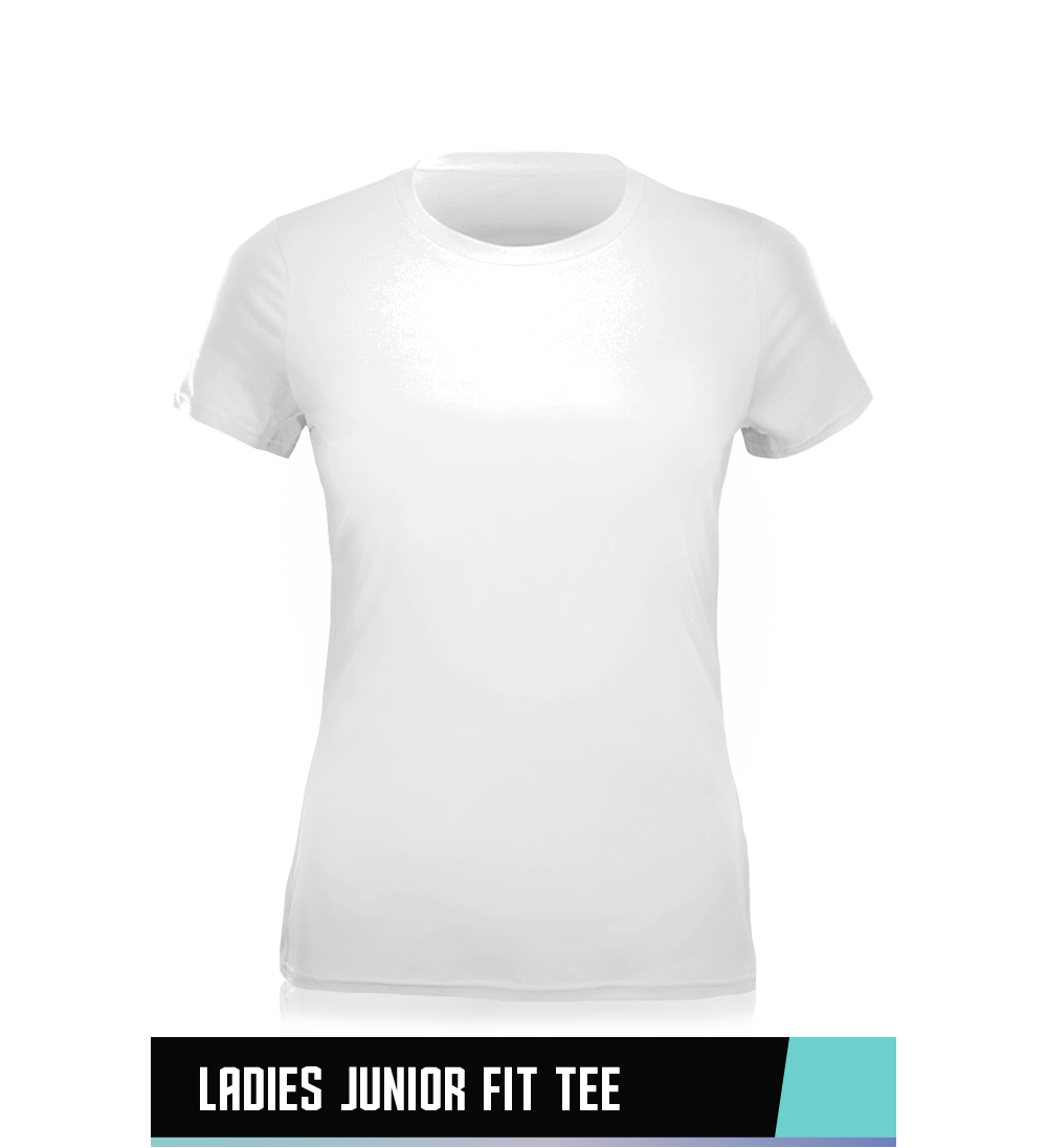 LADIES' FITTED TEE  100% PRESHRUNK COTTON  SIZE CHART