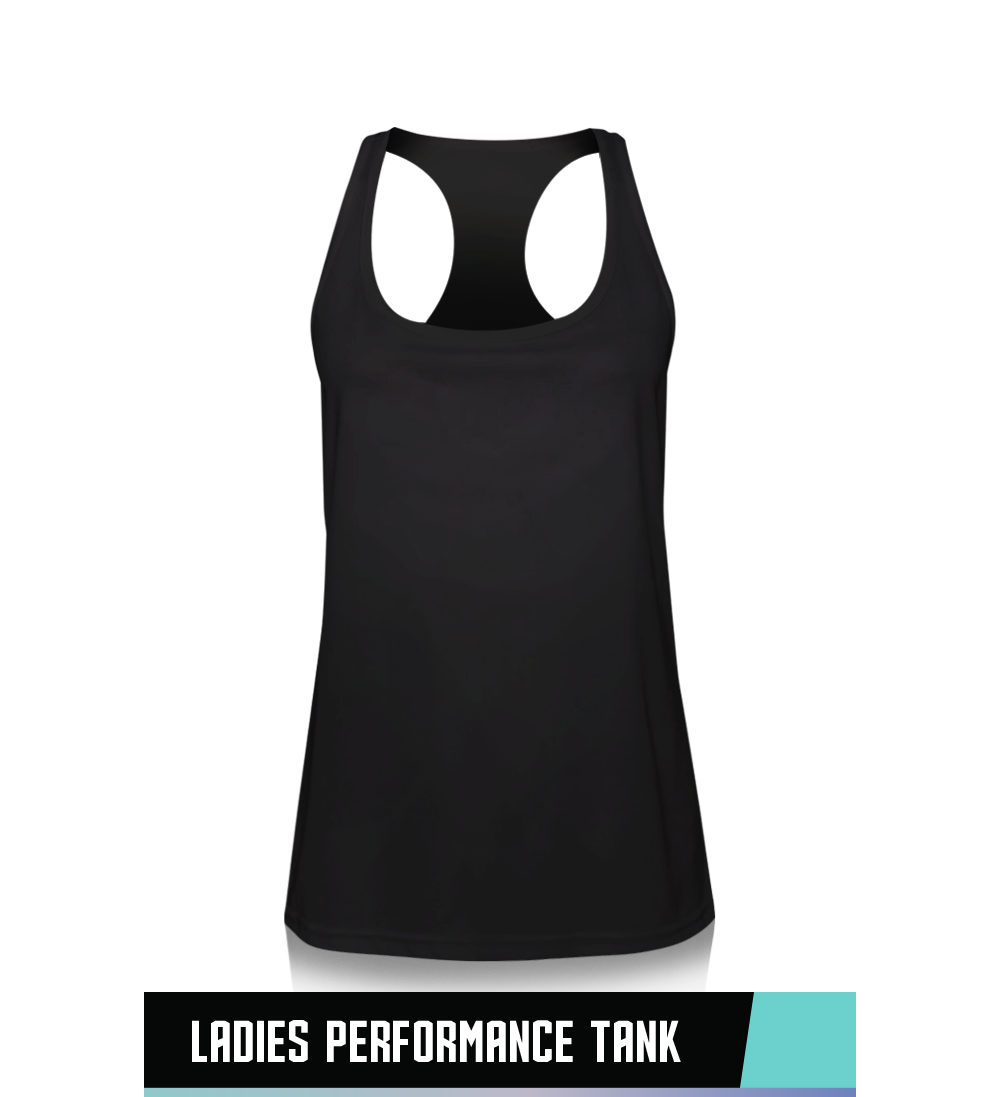 LADIES' PERFORMANCE TANK 100% POLYESTER SIZE CHART