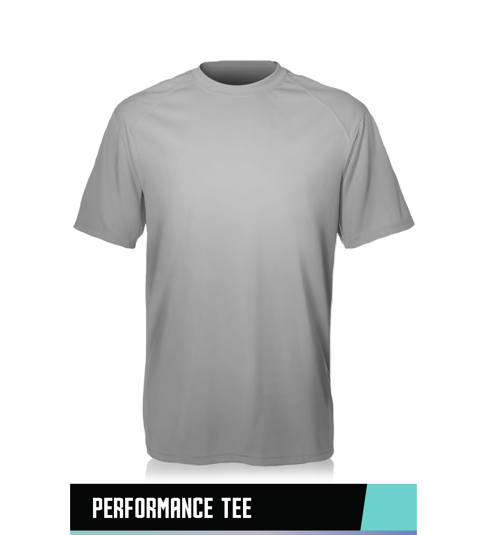 PERFORMANCE TEE  100% POLYESTER  SIZE CHART