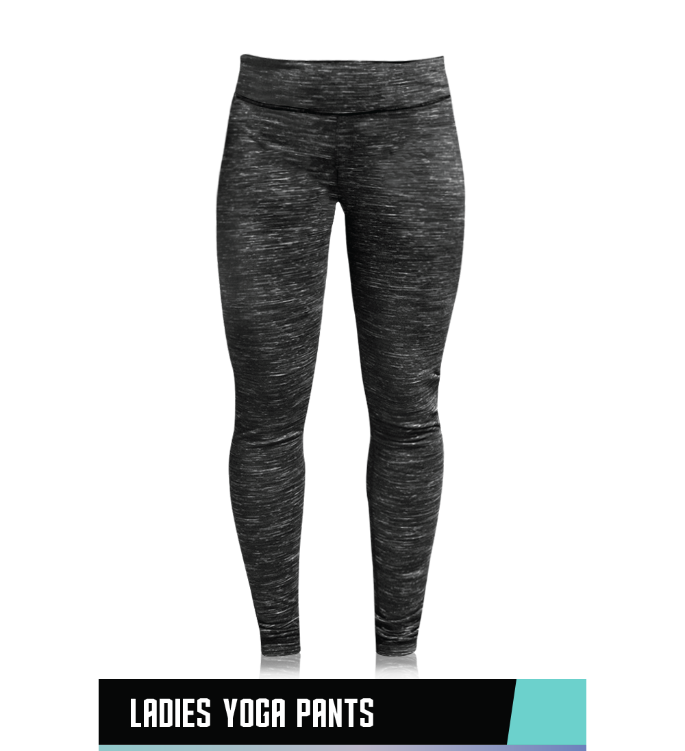 LADIES' YOGA PANTS  90% POLYESTER / 10% SPANDEX  SIZE CHART