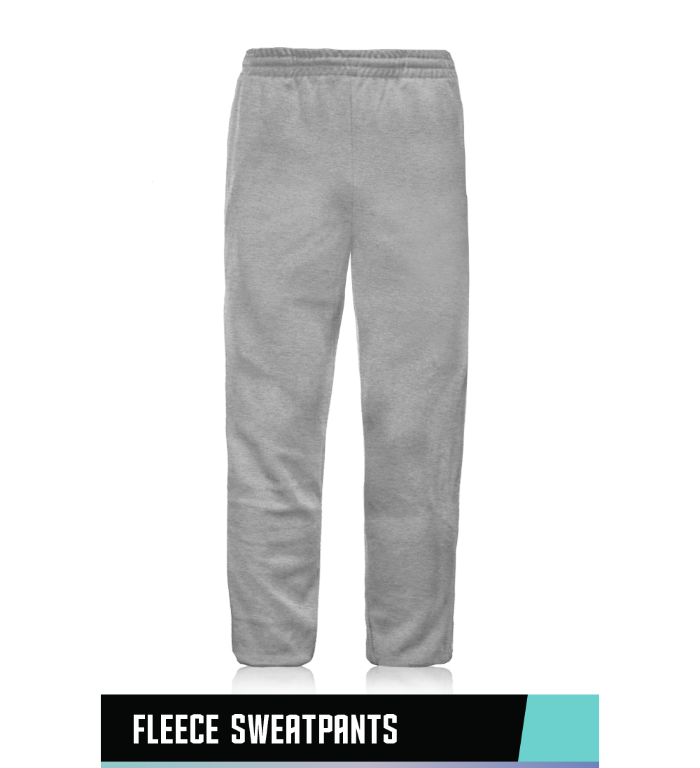OPEN BOTTOM SWEATPANTS  50% COTTON / 50% POLYESTER  SIZE CHART