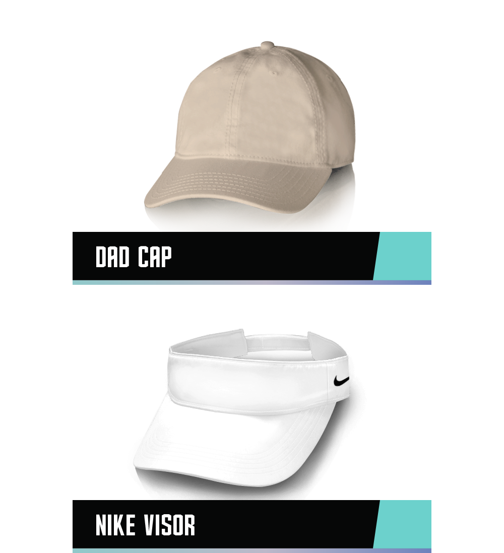 DAD TWILL CAP 100% COTTON TWILL ONE SIZE   NIKE VISOR 100% DRI-FIT POLYESTER TWILL ONE SIZE