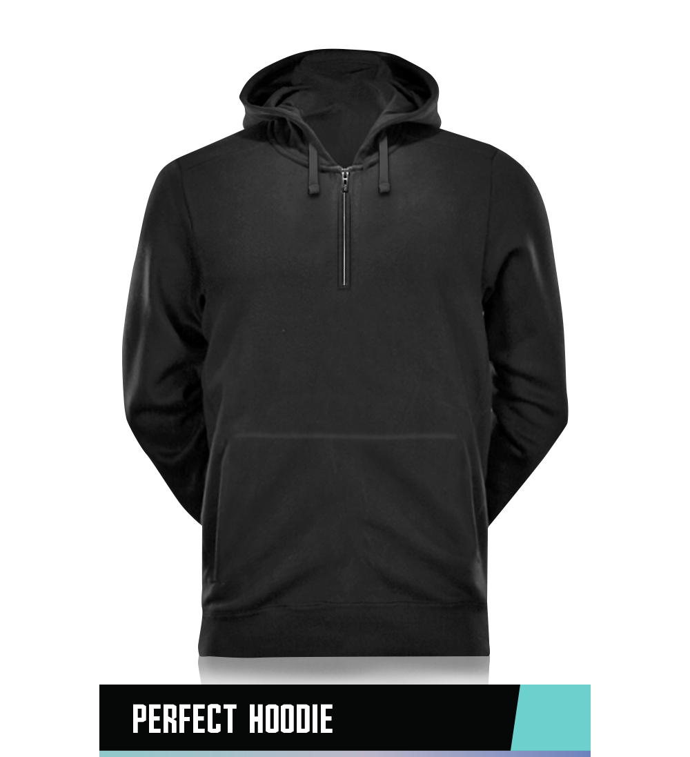 1/4 ZIP PERFECT HOODIE 70% BRUSHED COTTON / 30% POLYESTER SIZE CHART