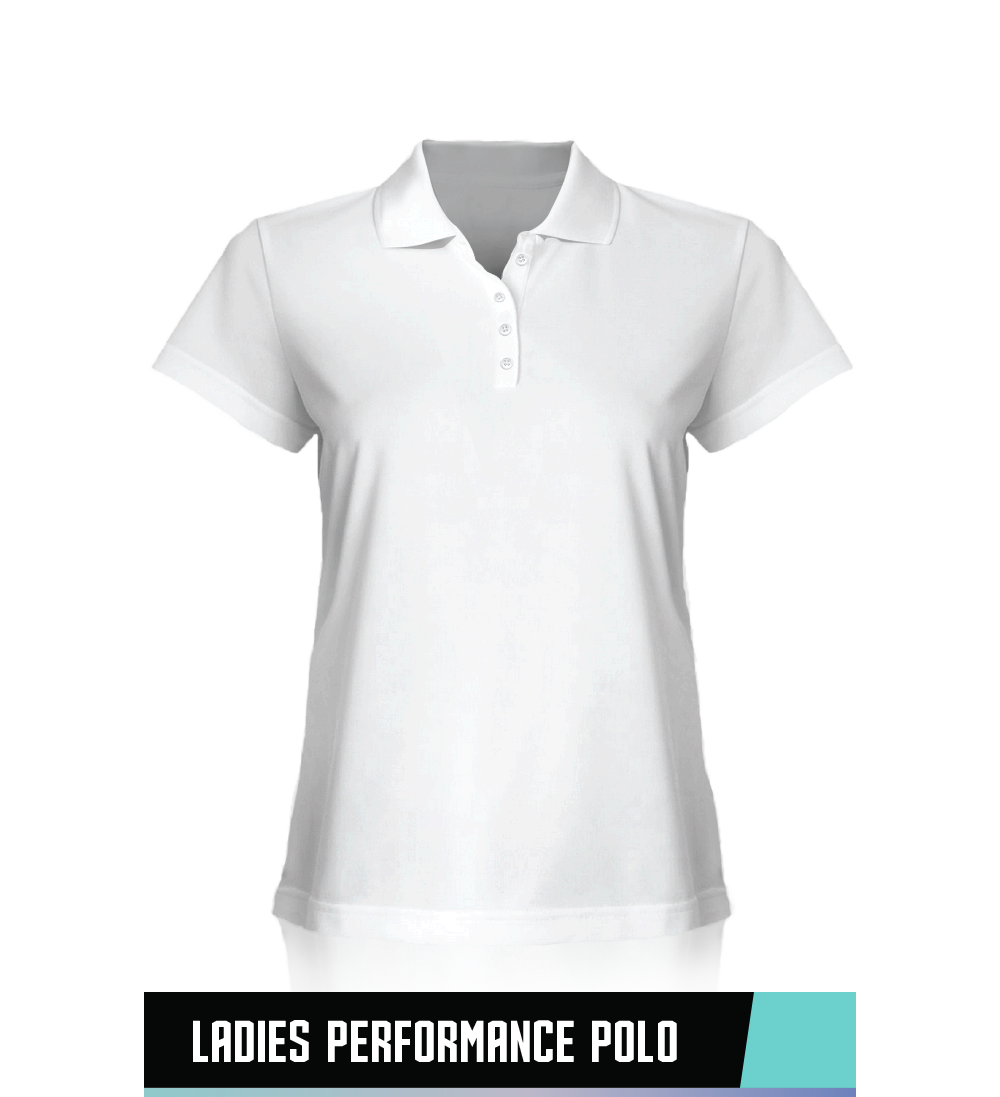 LADIES' PERFORMANCE POLO  100% POLYESTER  SIZE CHART