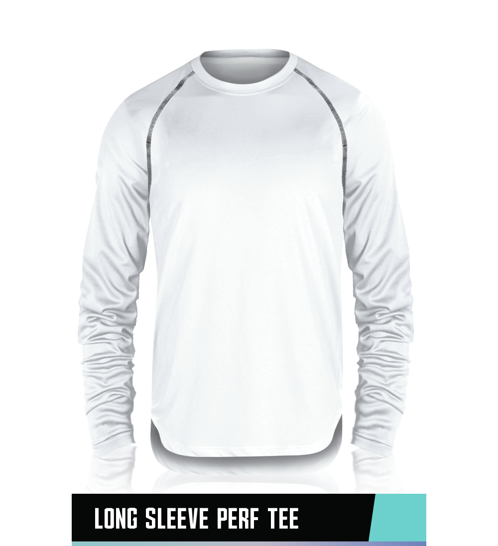 LONG SLEEVE PERFORMANCE TEE   95% POLYESTER / 5% SPANDEX   **VERY LOOSE FIT**   SIZE CHART