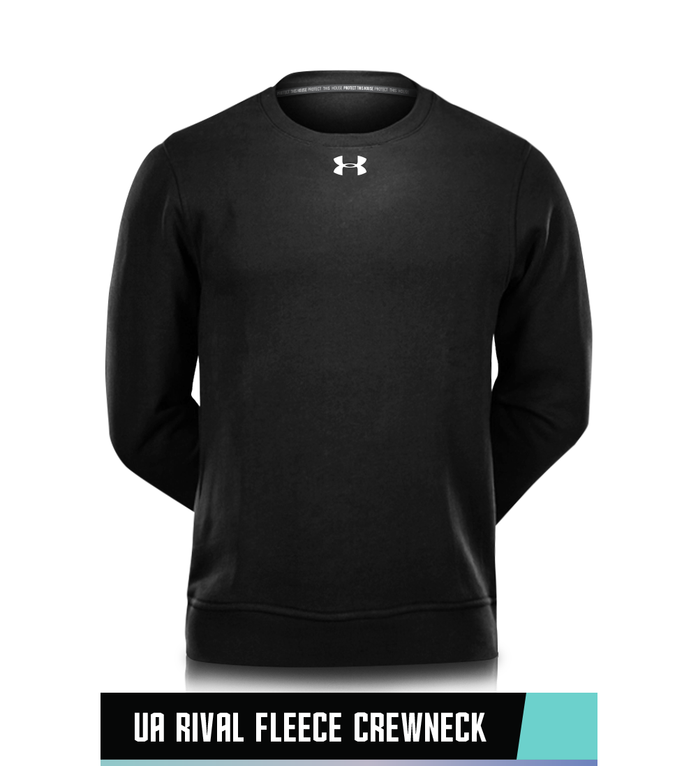 UA RIVAL FLEECE CREWNECK 78% COTTON / 22% POLYESTER SIZE CHART