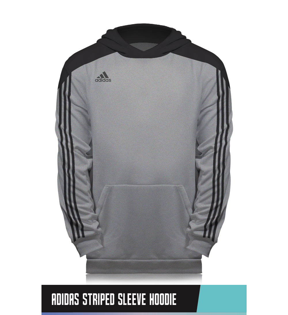 ADIDAS STRIPED SLEEVE HOODIE   100% POLYESTER   SIZE CHART