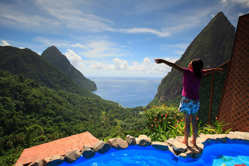 Time to start checking off items from your bucket list! We had always wanted to go to the islands, so we finally went, to St. Lucia, in October 2012 to celebrate being 1 Year All Clear, turning 35, and our 8 year wedding anniversary. My wife enjoying a tropical misting from the Ladera resort overlooking the famous Pitons. Our first real trip away without our kids since fighting cancer. We so needed this!