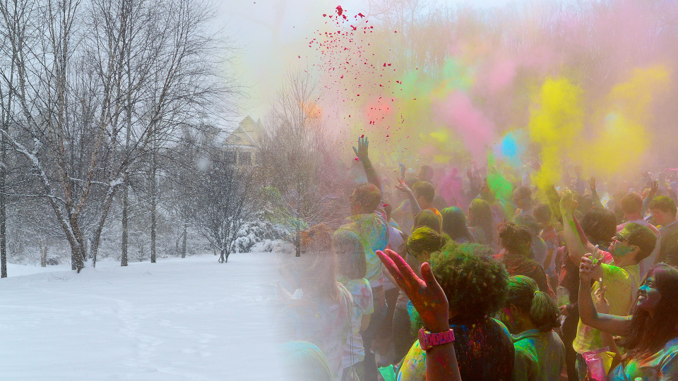 The cold isolation of winter, contrasted with the warmth, love and vibrancy of Spring. If you've never been to Holi, which is a springtime Hindu religious color festival, find some Hindu friends one day and go! I've never had more fun!