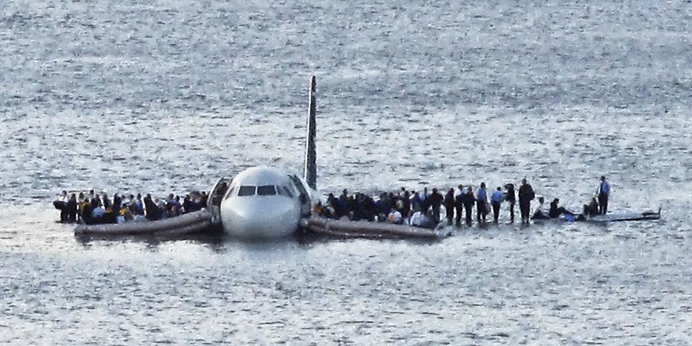 US Airways Flight 1549, successfully ditched in the Hudson River in January of 2009. Imagine having to go through something like this every other month.