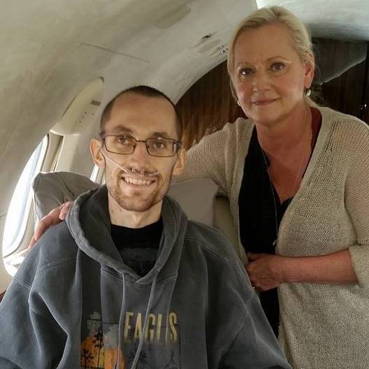 Jordan and Kim travelling home from Denver by private jet on May 27th, courtesy of a Stage 3c testicular cancer survivor who was inspired by Jordan's story back when they had been diagnosed in 2013.