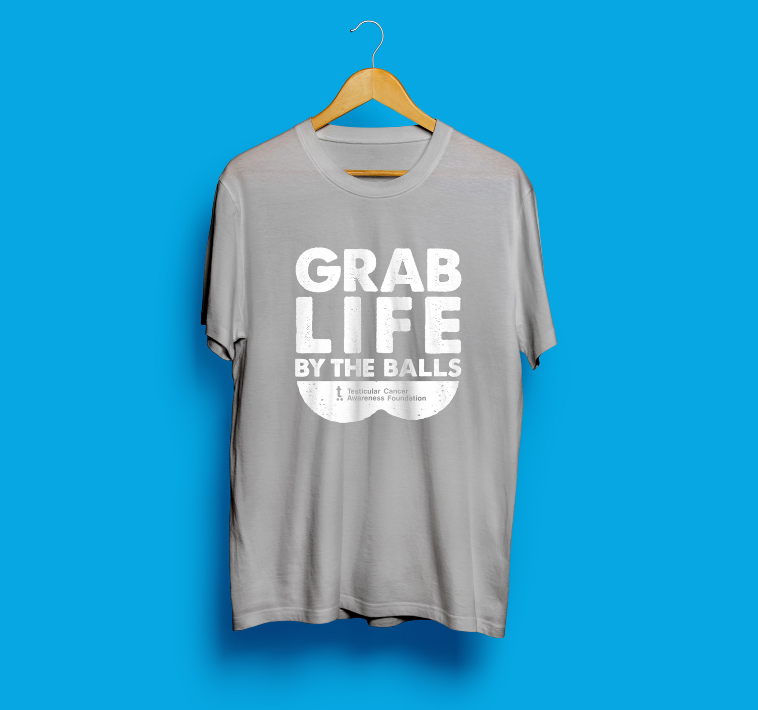 3f334d9c NEW Grab Life By The Balls Tee Grey with White — Testicular Cancer  Awareness Foundation