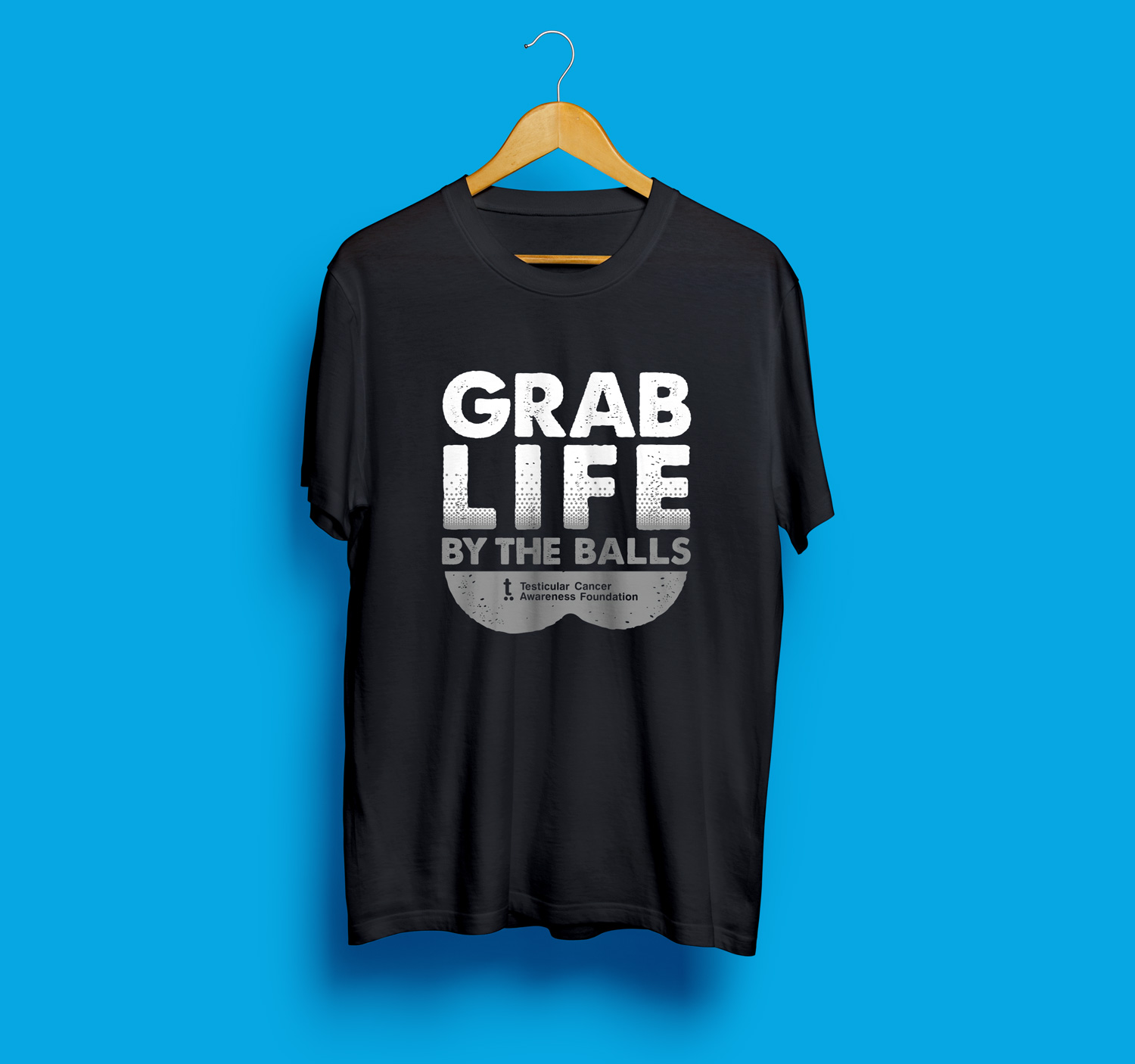 fcaa49fe NEW Grab Life By The Balls Grey Fade Tee - L, XL Only — Testicular Cancer  Awareness Foundation