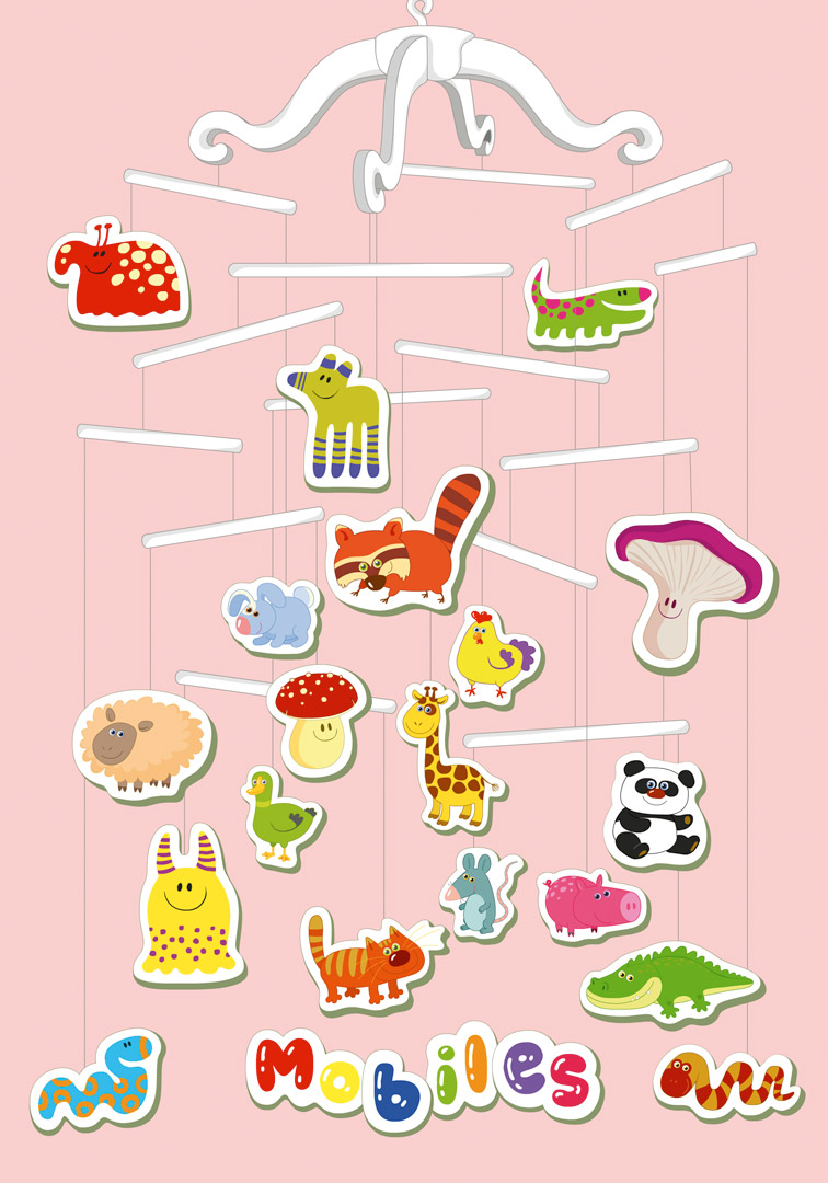 "Characters and poster design for the babies TV series ""Mobiles"". © Baby First TV."