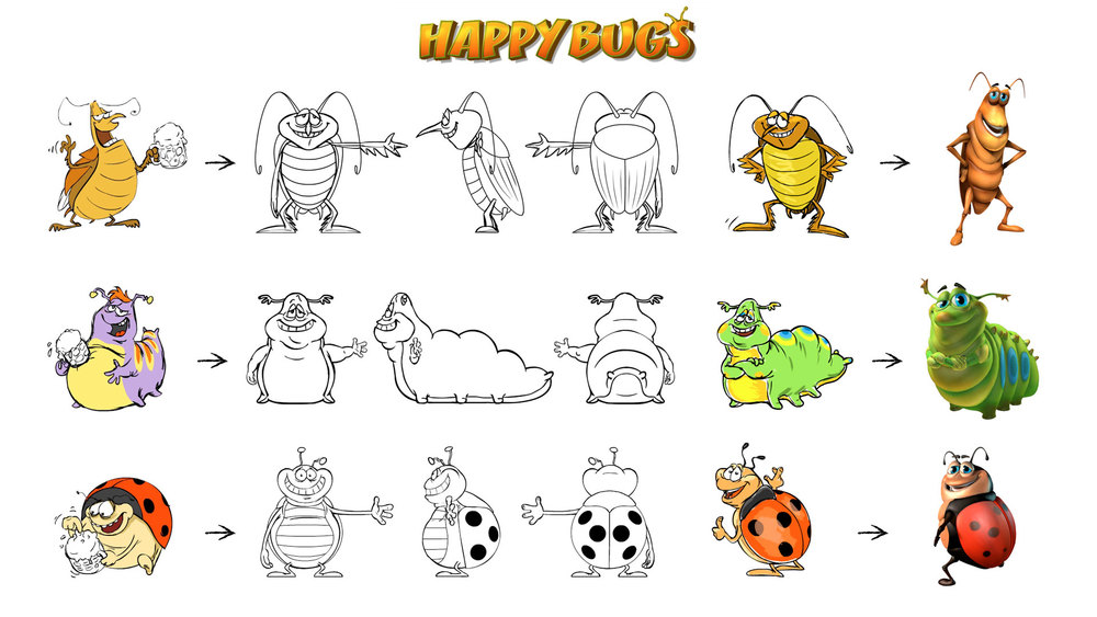 "Visual development of characters and exposure sheet for the Slot game ""Happy Bugs"". © Playtech."