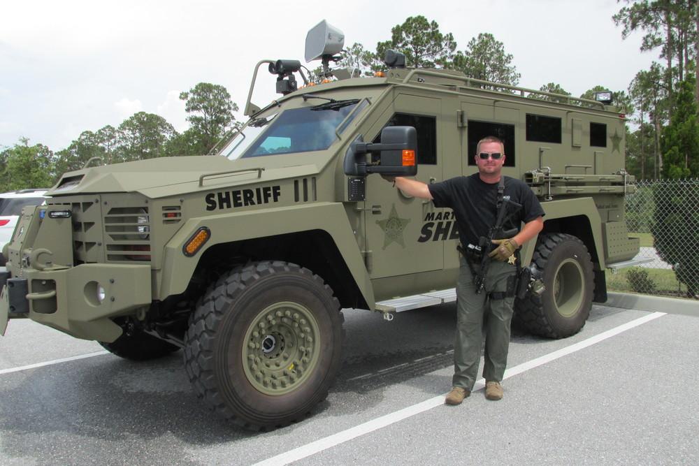 Sergeant Thomas Smith with the BearCat